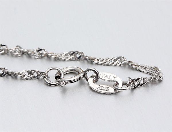 35cm-80cm Thin 925 Sterling Silver Twisted Singapore Water Wave Chain Link Collares Mujeres Niñas Niños Joyería para niños Kolye 16-24