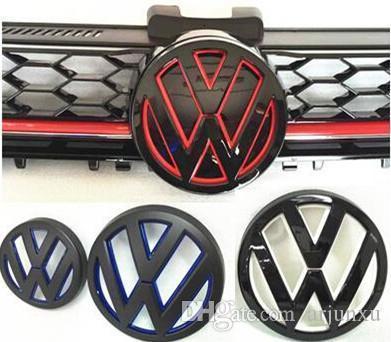 Para Nueva Golf Gti 7 MK7 pintado Color logo VW coche del emblema de la insignia delantera parrilla y la tapa trasera Puerta trasera Marca Golf7 VII Styling