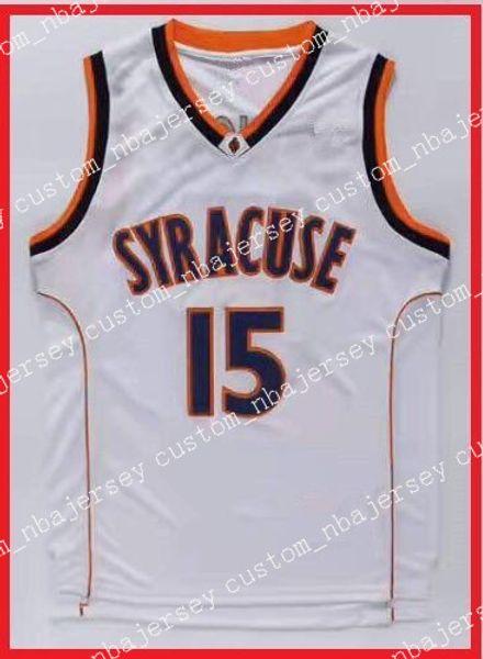 Ucuz toptan Carmelo Anthony # 15 NCAA Syracuse Koleji Basketbol Forması Beyaz S-2XL yüksek kalite