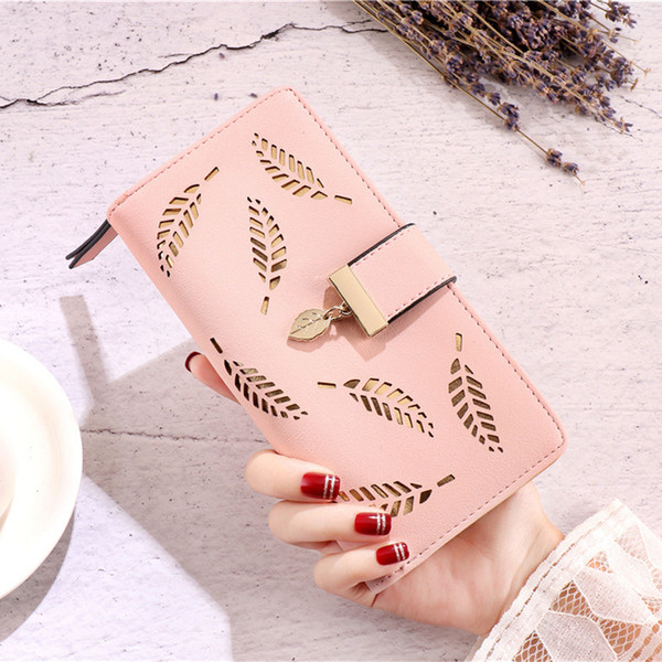 2019 Brand New Leaves Hollow Out Women Wallet Female Soft PU Leather Clutch para Phone Purse Designer Coin Money Bag Card Card Holder