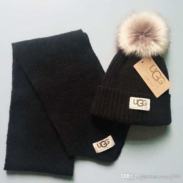 2019 niños de invierno sombrero y la bufanda juegos infantiles para bebés de punto beanies sombreros tapas + piel pompones de lana bufandas childrens gorros de ganchillo al por mayor