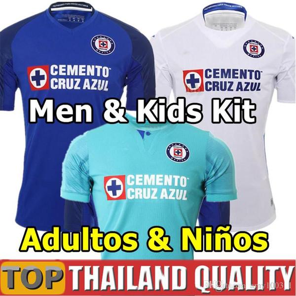 Nouvelle arrivée 2019 2020 Mexique Club Cruz Azul Liga MX Soccer Jerseys 19 20 Accueil bleu blanc enfants loin kit adultes uniforme de football
