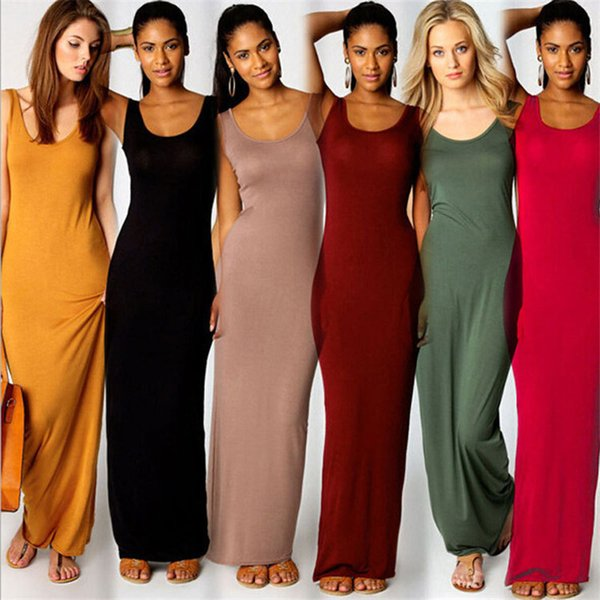 Women Summer Spaghetti Solid Color Maxi Dress Sexy Long Tank Dress Milk Fiber Sleeveless Bodycon Beach Travel Party Dresses Sundress A32001