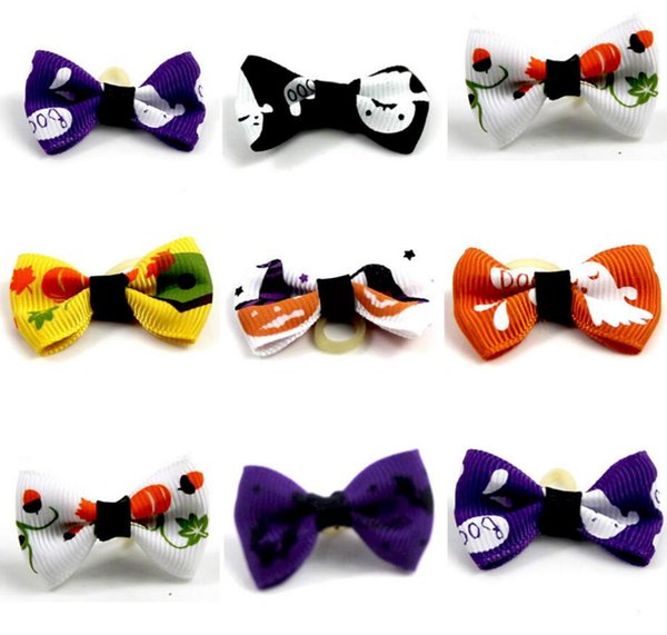 New cute lovely Pet puppy Cat Dog Halloween Accessories Hair Bows with Rubber Bands Grooming Accessories Cute Pet Headwear Costume