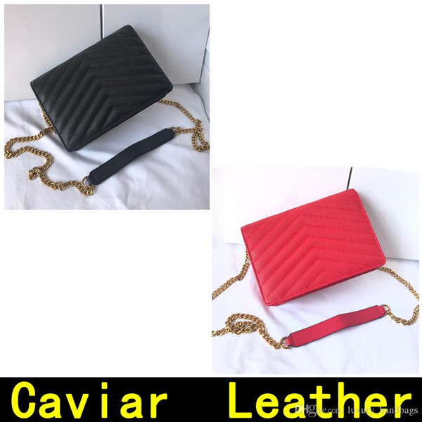 Saint Small style caviar leather Gold chain Silver chain Designer Handbags high quality women bag Genuine Leather Shoulder Bags