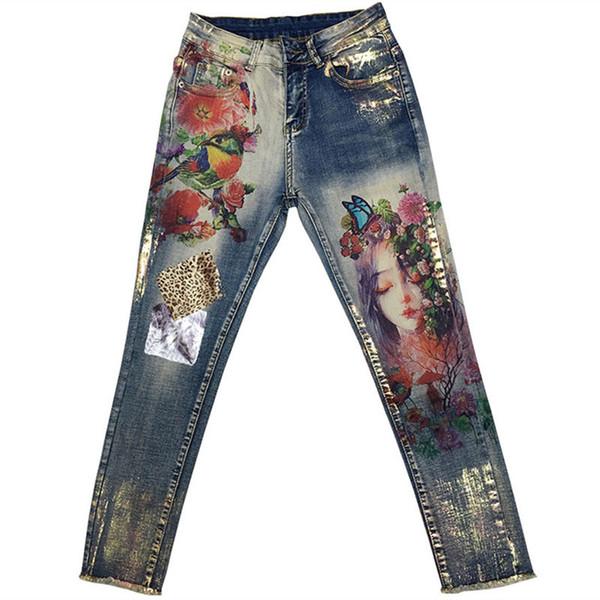 Étiré Avec 3d Fleurs Motif Peint Crayon Femme Élégant Style Denim Pantalon Pantalon Pour Femmes Jeans Q190418