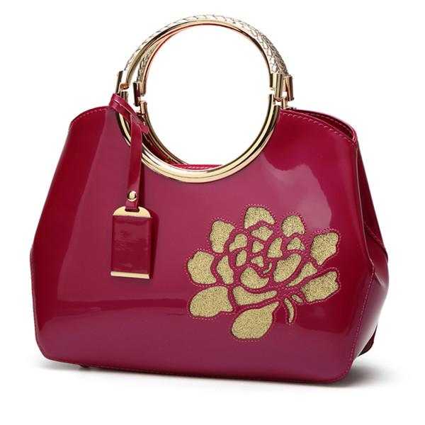 New fashion ladies bag patent leather crocodile pattern portable diagonal shoulder bag shell bag big handbags