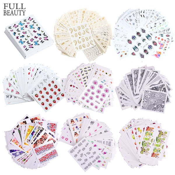 40pcs/Set Mixed Design New Nail Art Sticker Set Black Lace Gold Silver Glitter Flower Water Decal Slider Wraps Decor Manicure CH830