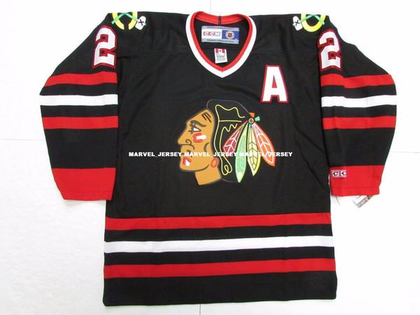 Custom personalizzato DUNCAN KEITH CHICAGO BLACKHAWKS VINTAGE CCM BLACK HOCKEY JERSEY punto aggiungere qualsiasi numero qualsiasi nome Mens Hockey Jersey XS-5XL
