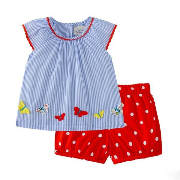 kids designer clothes girls Summer sets 100% Cotton girl set summer girl Stripped Print elegant casual t shirt + Polka dots short 2-7T