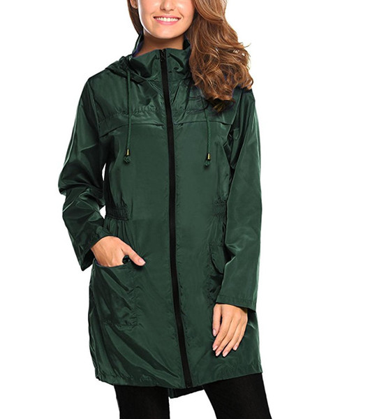 womens solid color designer thick trench coats long sleeve hooded fashion zipper pocket fashion female clothing