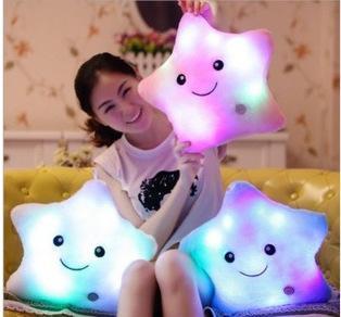 Leuchtende Nette Kissen 30 cm * 30 cm Stern Herz Bärentatze Led Plüsch Kissen Nachtlicht Kinder Kissen Weihnachten Spielzeug
