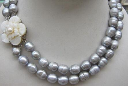 wholesale LONG surprising natural South sea 11-13mm gray baroque pearl necklace 17-18inch Bridal Jewelry