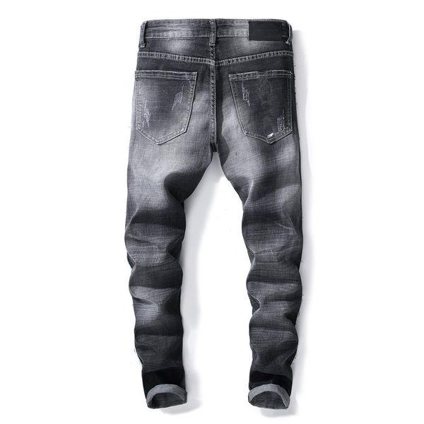 Light Blue Fit Loose Cotton Denim Brand Jeans For Male Fashion Men Jeans Mens Slim Casual Pants Elastic Trousers