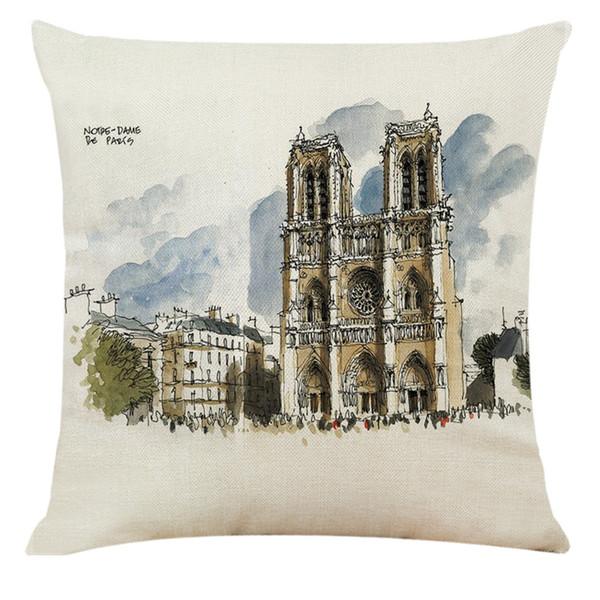 1 pc Praça Simples Esboço De Linho De Algodão Paris Notre Dame Imprimir Capa de Almofada Do Sofá Capa de Almofada Decoração de Casa 45 * 45 cm L617