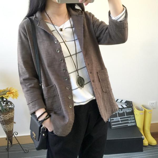 Großhandel Frauen Frühling Herbst Vintage Blazers Kunst Art Loses Solid Color Einreiher Dreiviertel Coats Weiblich Aufgebrochene Seiten Outwear Von
