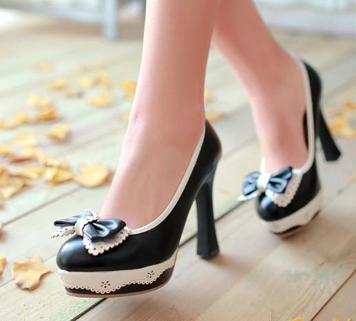 New Arrival Hot Sale Specials Super Fashion Influx Noble Sweety Princess Bow Lady Lolita Cute Leather Platform Fresh Heels Shoes EU33-43