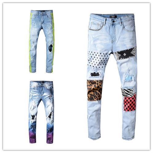 19SS Designer Herren Jeans Distressed Ripped Biker Jeans Slim Fit Motorrad Biker Luxus Denim Jeans Neue Marke Modedesigner Hosen