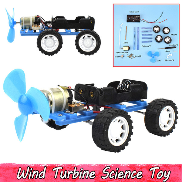 Plastic Wind Turbine Car Science Experiment Toys DIY Hand Assembling Model Kits Educational Toys for Kids Teens Improve Brain Ability Gifts