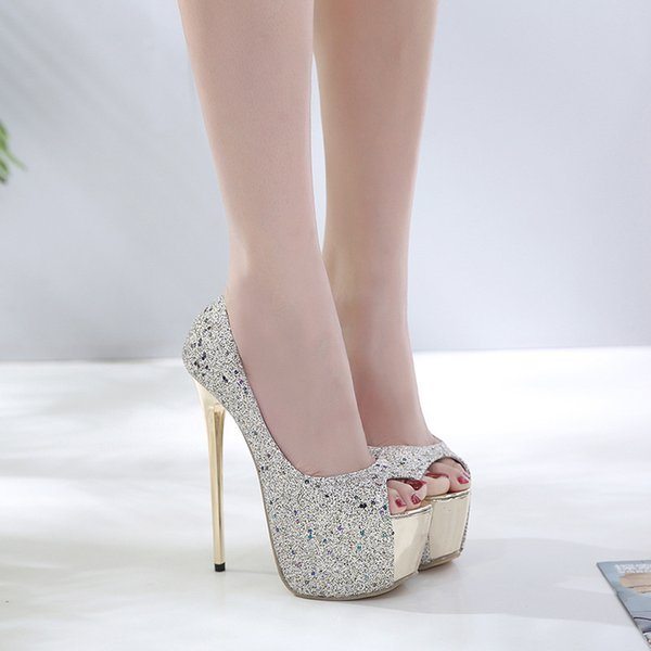 Fully Jewelled Wild2019 Autumn Waterproof Platform Go Beautiful Leg Comfortable Fish Mouth High Heeled Shoes 35 40 Scholl Shoes Silver High Heels From