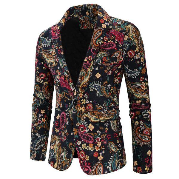 Smokin Erkek Blazer Ceket Pamuk ve Keten Çiçek Suit Blazers Erkekler Slim fit Çiçek Suits