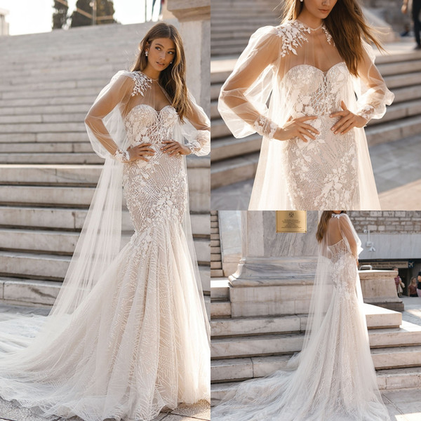 Berta Mermaid 2019 encaje vestidos de novia con gorra Sweetheart Sweep tren Backless Beads apliques vestidos de noiva vestido de novia vestidos de novia