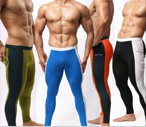 Sexy Hommes Longs Johns Sportswear Fitness Gymnastique De Yoga Pantalons Running Collants Vélo Natation Multifonctionnel Bodybuilding Pantalon De Sport