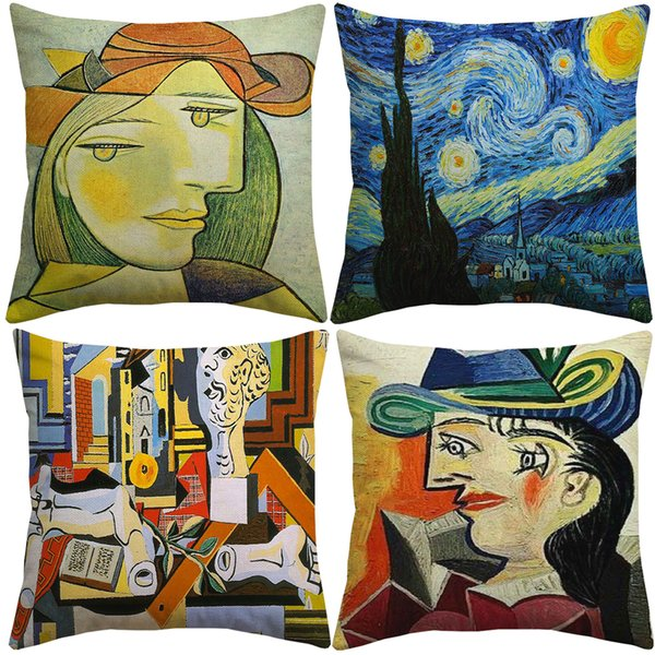 Pablo Picasso Famous Paintings Cushion Covers The Starry Night Surrealism Abstract Art Cushion Cover Decorative Linen Cotton Pillow Case