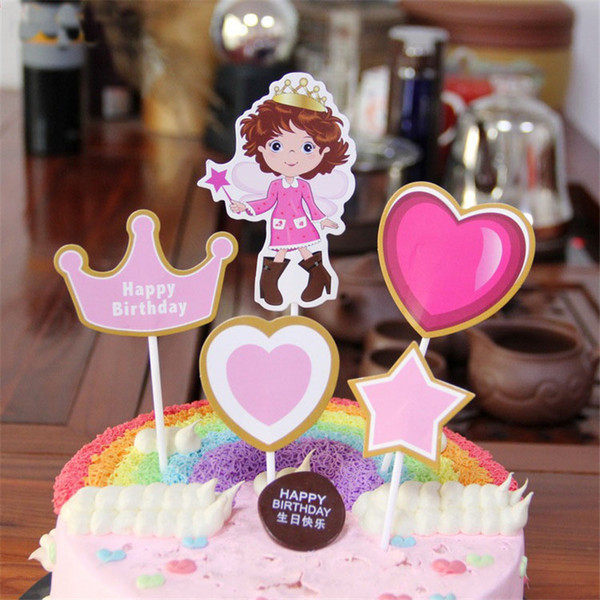 Cute Happy Birthday Cake Topper Prince Princess Cupcake Topper For Kids Birthday Party Supplies DIY Cake Decoration Tools