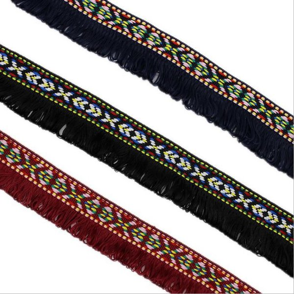 Width 3.3 CM Polyester Tassel Lace Trim Bohemian Lace Ribbon Sewing Accessories Tassel Trim Ball Fringe Embroidery DIY Apparel Fabric Cord