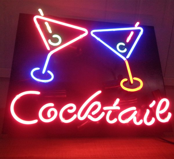 Cocktail Neon Sign Bar Holiday Display Advertising Home Decoration Wall mounted Real Glass Light Metal Frame Size 17'' 20'' 24'' 30''