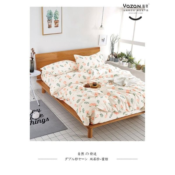 top popular YAZAN The high quality bedding set with 100% cotton Pure and fresh pattern Simplicity Bed sheet quilt cover pillowcase3 4pcs 2021