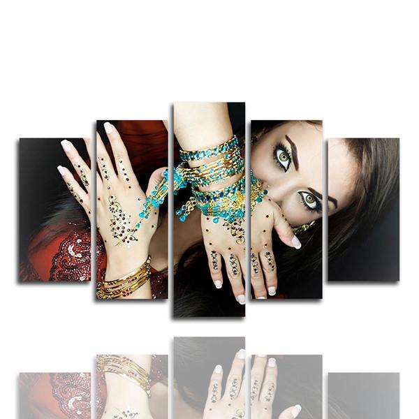 (Apenas Canvas No Frame) 5pcs indiana bonita parede Mulher Art HD Tela de impressão Pintura Moda pendurar quadros para decoração do quarto