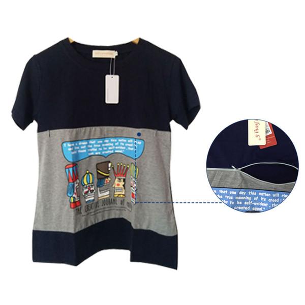 Nursing Clothing Short-sleeve Tees Nursing Top Feeding Pregnancy T-shirt Fashion Plus Size Maternity T-shirts Y19052003