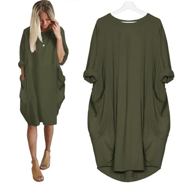 5XL Large Size Spring Dresses Casual O-Neck Pocket Black Loose Dress Fashion Leisure Street Dress Plus Size Women Clothing