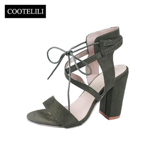 e47a1e4c COOTELILI Tallas grandes Sandalias de gladiador Moda para mujer Sandalias  Mujer 2019 10.5 cm Zapatos de
