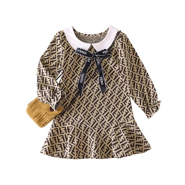100% algodón vestido de niña / marca de moda vestido de carta / vestido suelto ocasional 2019 nuevo tamaño de sudadera con capucha gruesa 90cm / 130cm