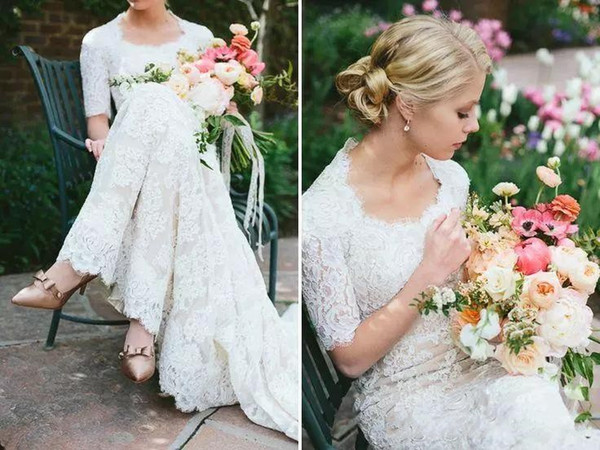 2018 Modest Full Lace Sheath Wedding Dresses Cheap Country Western A Line Bridal Gowns With Half Sleeves Sweep Train Covered Buttons Back