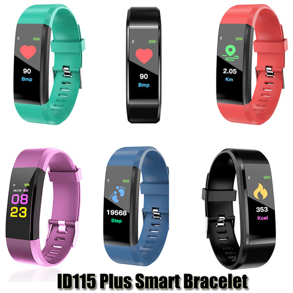 best selling ID115 Plus Smart Bracelet Fitness Tracker Smart Pedometer Watch Heart Rate Watch Band Smart Wristband For Apple Android Cellphones With Box