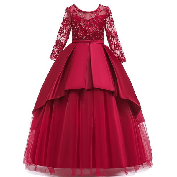 Prenses Elbise Çocuk Kız Akşam Parti uzun Hollow kollu Elbise Çocuklar Kızlar Için Elbiseler Kostüm Çiçek Kız Gelinlik