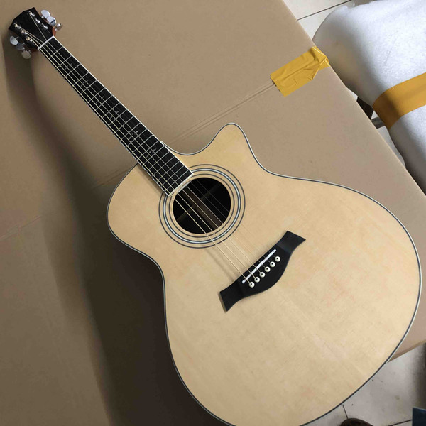 top popular Aaaa All Solid Spruce Top G414 Acoustic Electric Guitar with Electronic 301 EQ Headstock Can be Customized with Abalone Logo 2020