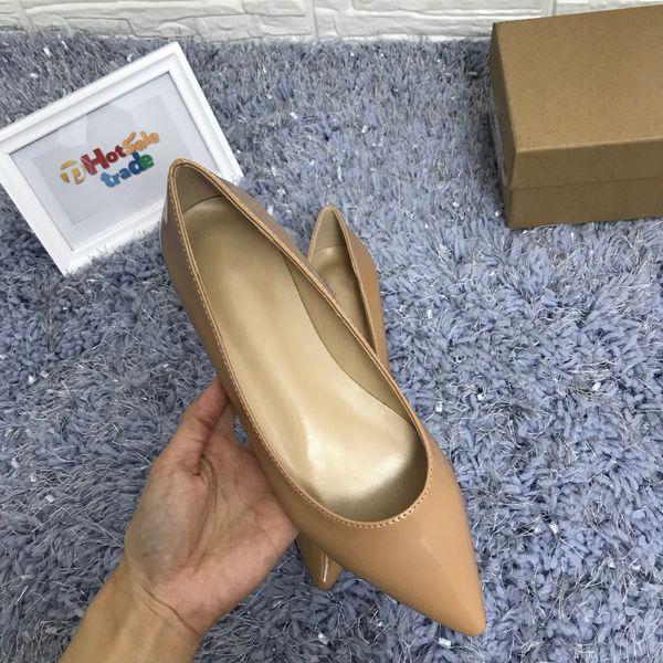 Lüks Düz Kadın Elbise Ayakkabı Tasarımcısı Kırmızı Tek Düz Topuk Tarzı Kadın Patent Deri Elbise Ayakkabı Klasik Sivri Burun Siyah Bej Parti Ayakkabı