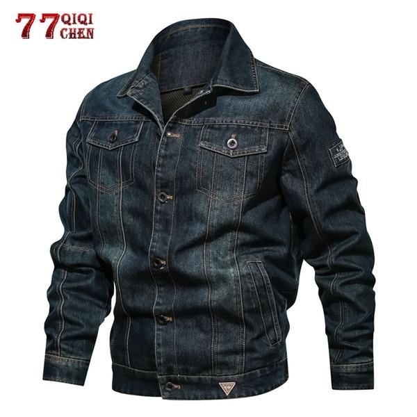 Otoño Retro Denim Chaquetas Hombres Invierno Casual Jeans Abrigos Cowboy Bomber Jackets Hombres Outwear Streetwear Plus Tamaño 6XL