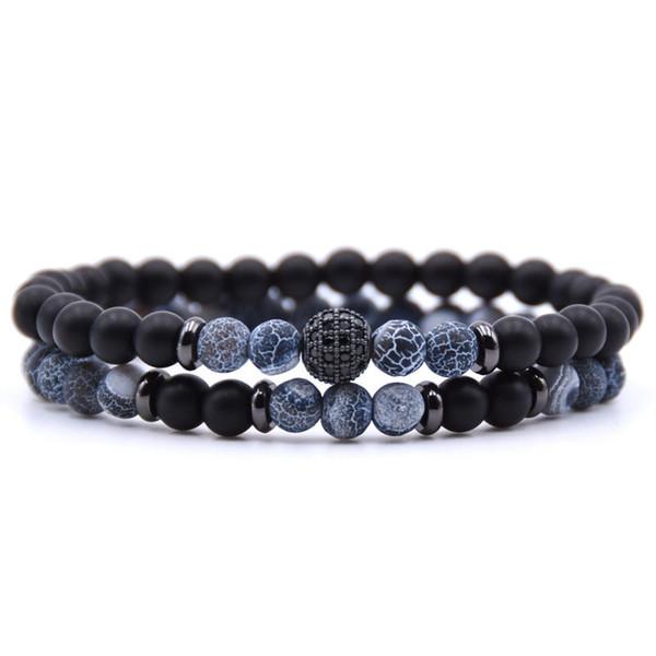 2 pz / set braccialetto di pietra naturale uomini micro pavimenta cz 8mm palla da discoteca amuleti bracciali per le donne gioielli uomo vichingo bijoux