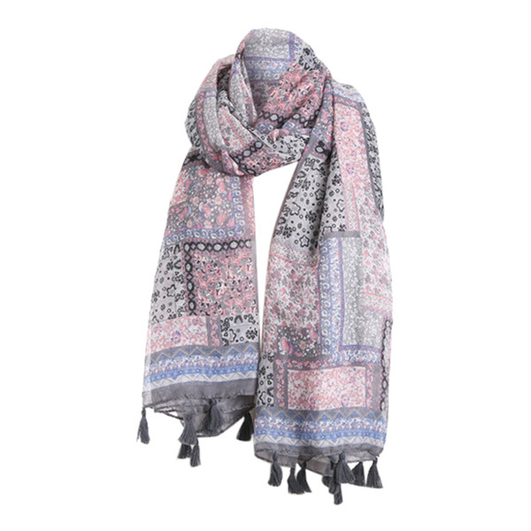 2019 women fashion beautiful embroidered cotton linen floral wrap shawls scarves 4#