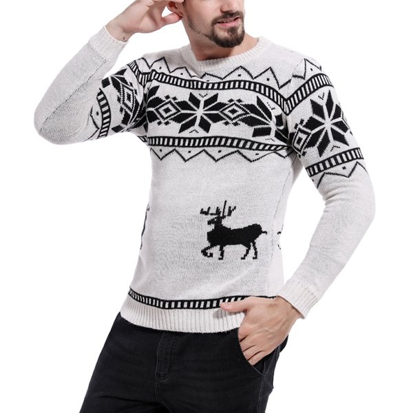 2018 Sweaters Male Men O-Neck Long Sleeve Christmas with Deer Pattern Slim Pullovers Pull Homme Dropshipping