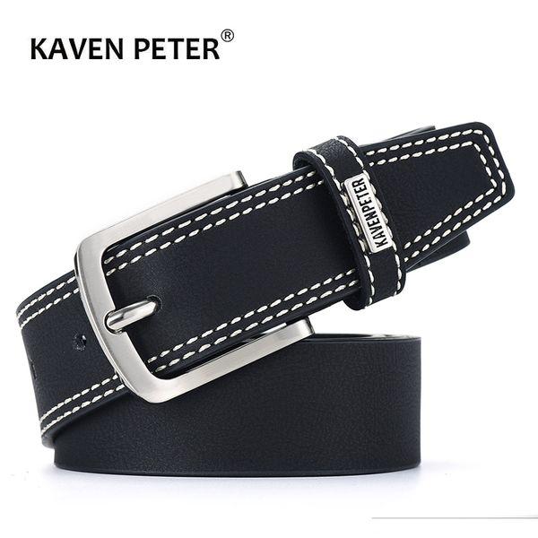 Cintura NERA uomo VERA PELLE GRIGIO FIBBIA Fashion Casual Jeans di alta qualità