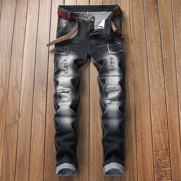 Männer beunruhigt zerrissene Jeans-Art und Weise gerade Motorrad-Radfahrer-Jeans kausale Denim-Hosen Streetwear Art-Jeans kühlen freie Verschiffen-Größe 28-36 ab