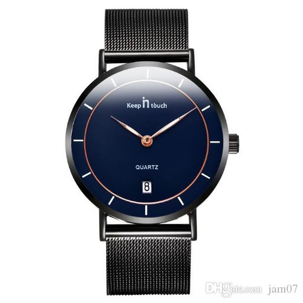 Men's fashion watch ultra-thin two needle simple generous casual table waterproof quartz watch steel band 2019 new
