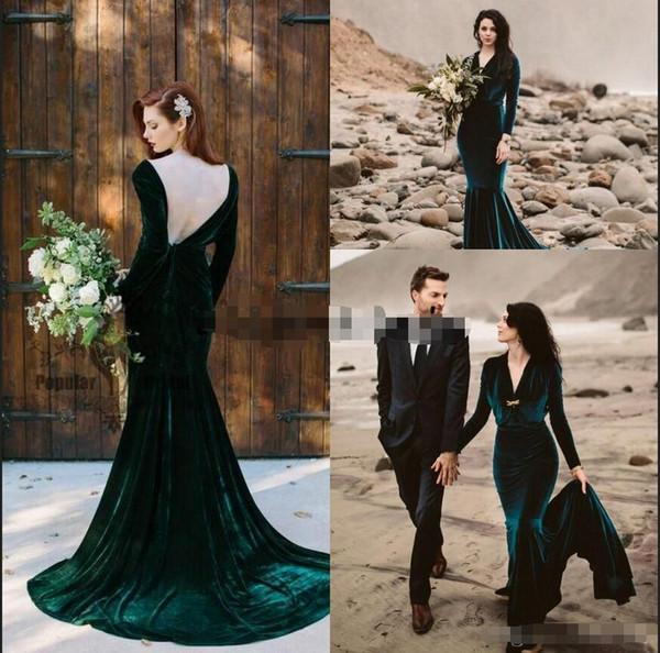 Verde smeraldo Velvet sirena dei vestiti da sera d'epoca con manica lunga 2019 Backless scollo a V sweep treno Bohemain Beach nuziale di promenade dell'abito